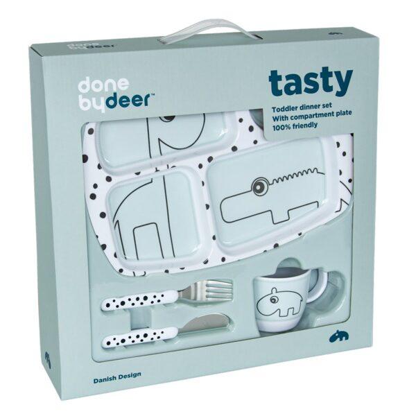 Toddler Middagssett - Happy Dots - Done by Deer - Blå