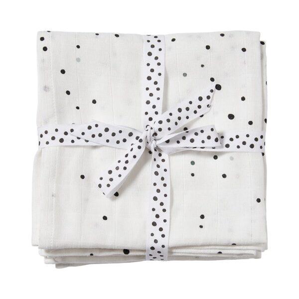 2-pk Dreamy Dots Gulpeklut - Musselinteppe - Done By Deer - Hvit