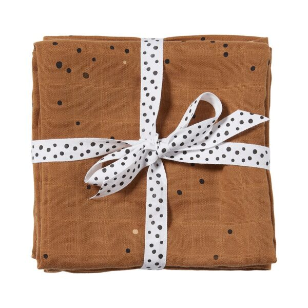2-pk Dreamy Dots Swaddle - 120x120 - Done By Deer - Mustard
