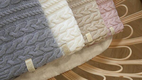 Braided 100 natural Merino wool blanket cream premium collecion17 1
