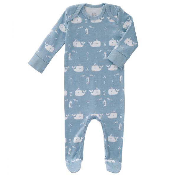 Fresk Pysjamas med fot Whale blue fog