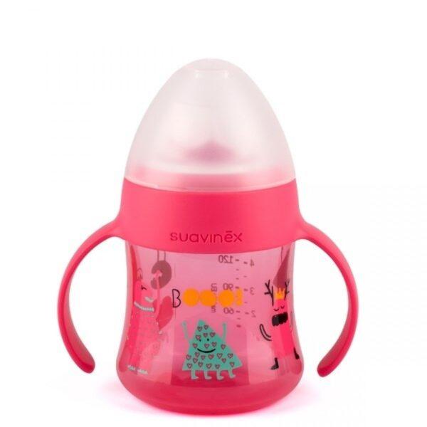 Flaske - First bottle with handles +4M - Suavinex - Rosa