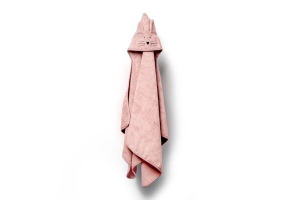 Bamboo stor håndkle - med kattehete - MEMI - Rosa