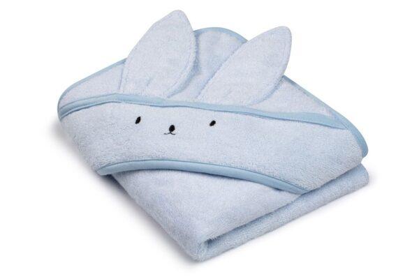 Bamboo håndkle med kaninhete - MEMI - Babyblå