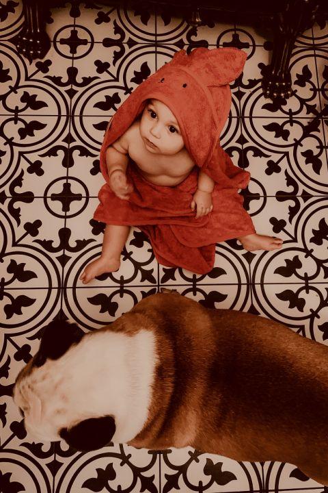 Bamboo håndkle - med kaninhete - MEMI - Rød Murstein