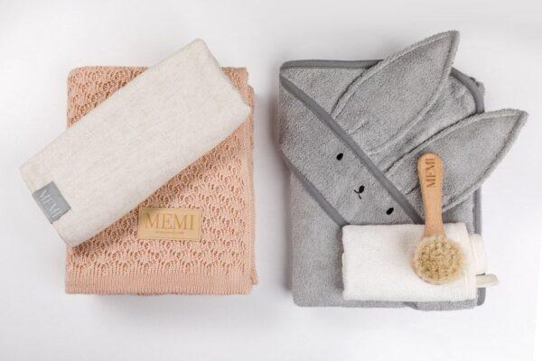 Bamboo håndkle med kaninhete - MEMI - Grå
