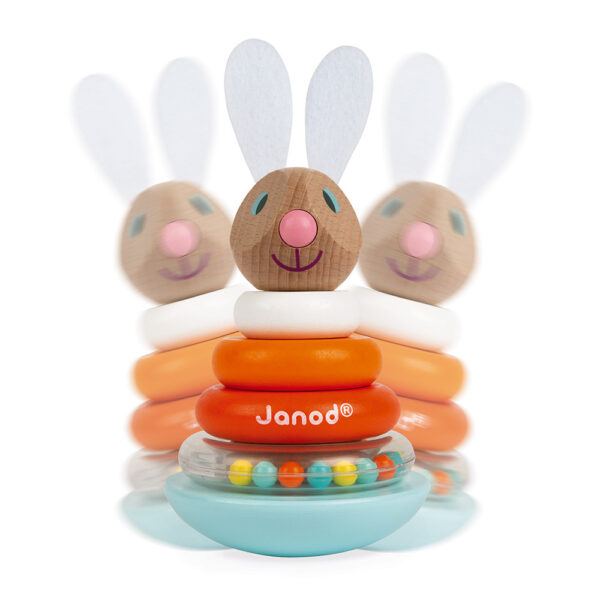 janod lapin stackable roly poly rabbit wood 3