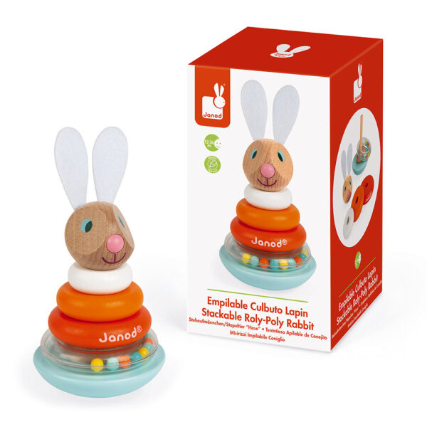 janod lapin stackable roly poly rabbit wood 4