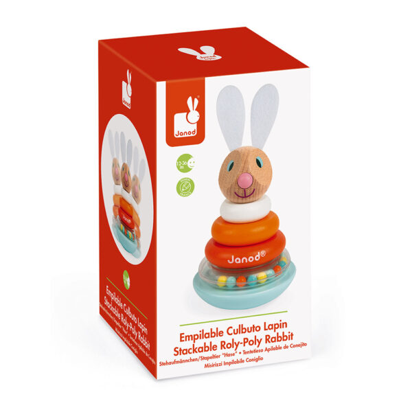 janod lapin stackable roly poly rabbit wood 5