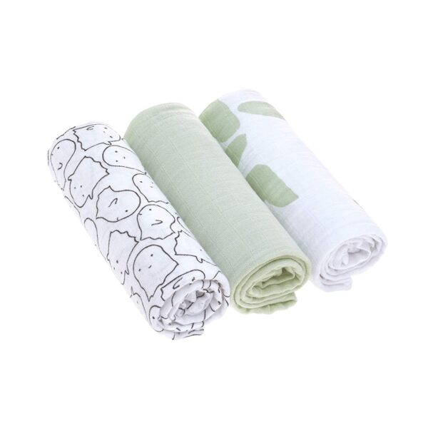 3-pk Muslin Swaddle & Burp Blanket L- Little Spookies olive - Lässig