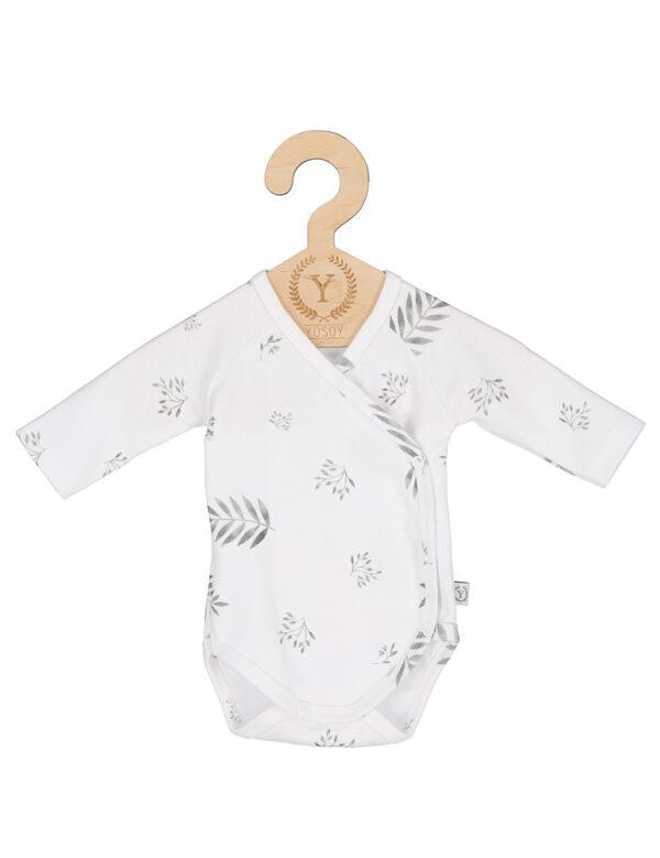 Nyfødt Body - økologisk bomull - Grey Leaves