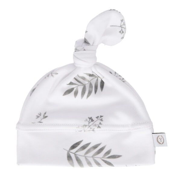Nyfødt baby lue - økologisk bomull - Yosoy - Grey Leaves