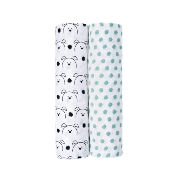 2-pk Muslin Swaddle & Burp Blanket XL- Little Chums Dog - Lässig