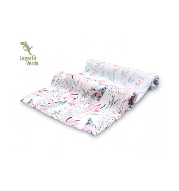 Musselin Gulpekluter 2-pk - 70 x 70 - Lagarto Verde - Flamingo/Pastellkvister